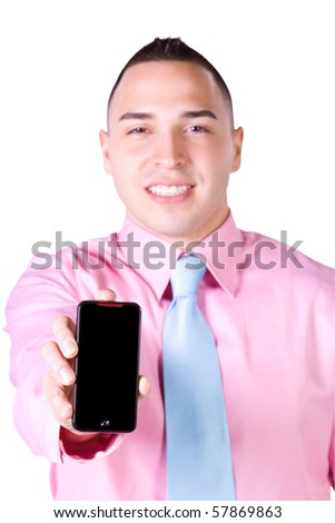 Isolated Businessman Showing His Cell Phone - stock photo