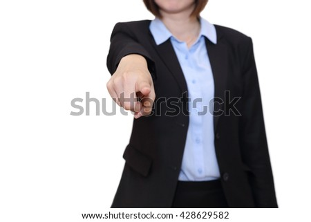 isolated businesswoman pointing to blank space