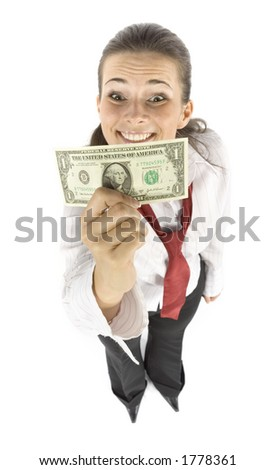 isolated businesswoman with one dollar banknote