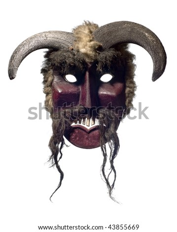 isolated buso mask from mohacs, hungary - stock photo