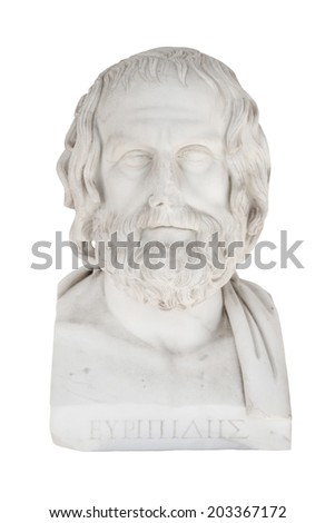 Isolated bust of Euripides, died in 406 before Chr.. Sculpture in the Achilleion of Corfu in Greece. - stock photo