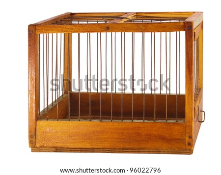 Isolated cage made of wood with iron rods, isolated