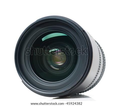 Isolated camera lens - stock photo