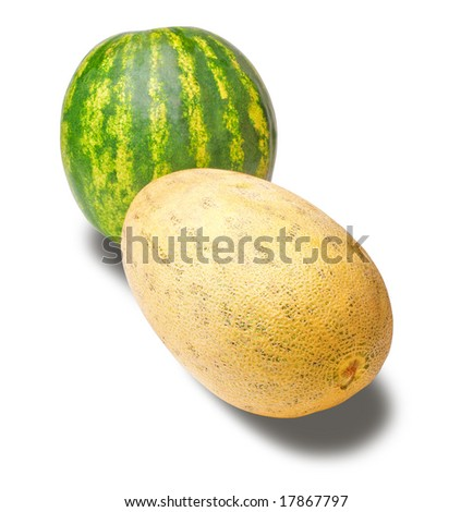 isolated cantaloupe and water melon, white background