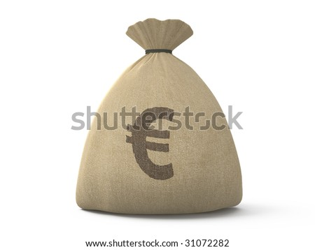 isolated canvas bag with euro symbol on white background - stock photo