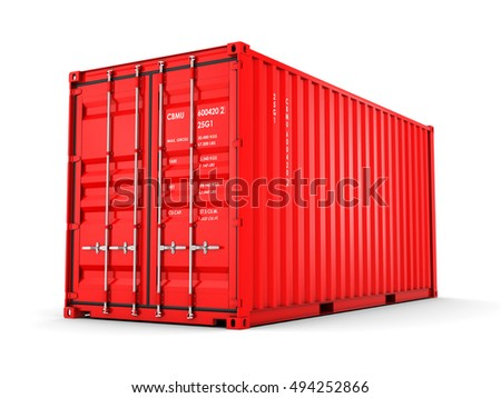 Isolated cargo container, 3D illustration