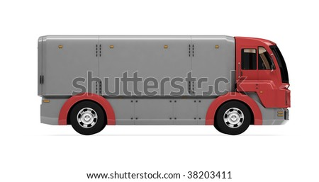 Isolated cargo truck over white background