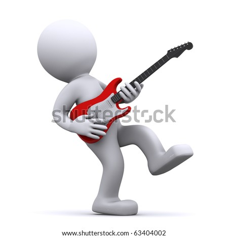 isolated cartoon guitarist