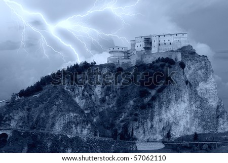 isolated castle on the mountain
