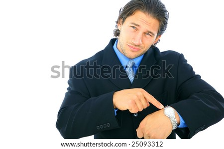 isolated caucasian male businessman disappointed and point at his watch - stock photo