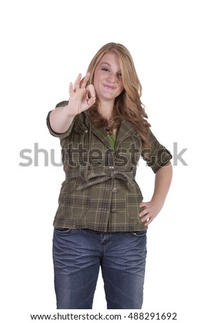 Isolated Caucasion Blonde Girl Giving the OK sign