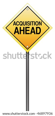 Isolated Caution Sign with Acquisition Ahead - stock photo