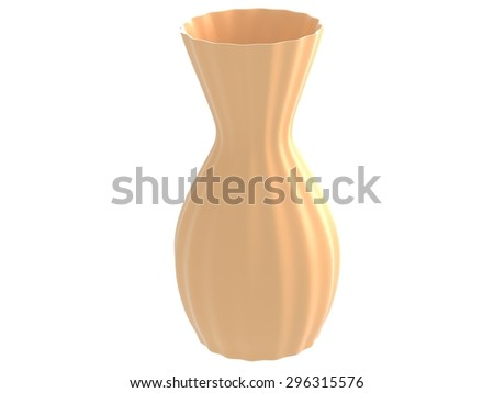 isolated ceramics vase 3d render in beige