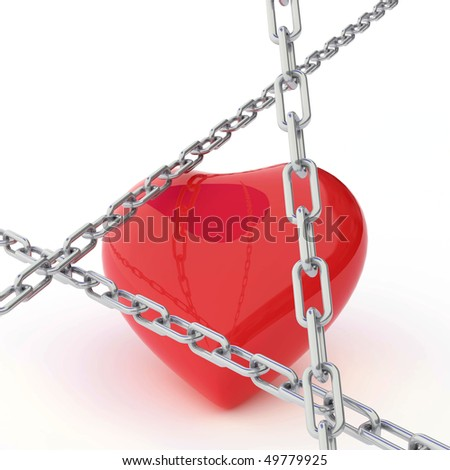 Isolated chain Links above a heart 3d - stock photo