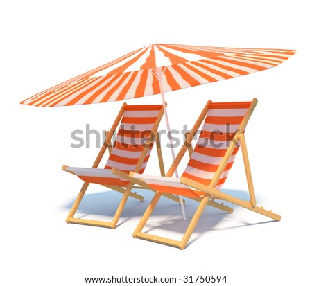 isolated chaises with umbrella - stock photo