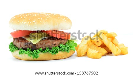 Isolated Cheese Burger & Chips