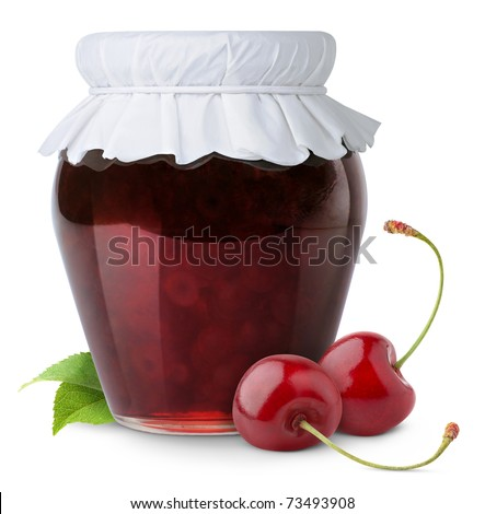 Isolated cherries. Closed jar of fruit jam and fresh cherries isolated on white background