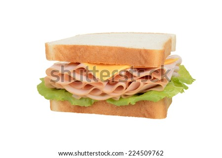 isolated chicken and cheese sandwich - stock photo