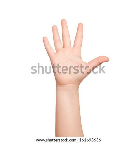 isolated child hand shows the number five - stock photo
