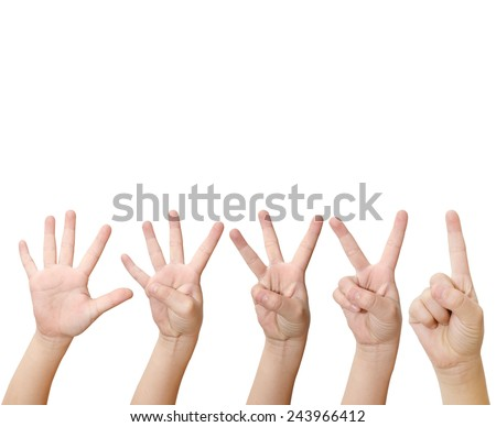 isolated child hand shows the number one, two, three, four and five. - stock photo