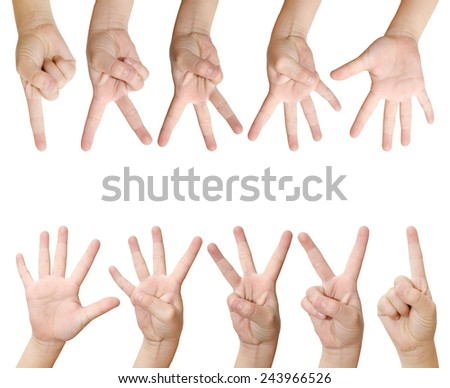 isolated child hand shows the number one, two, three, four and five.