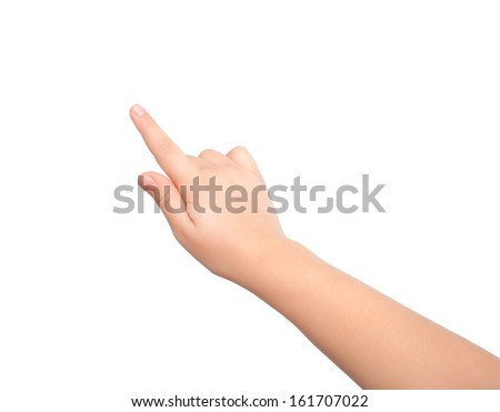 isolated child hand touching or pointing to something - stock photo