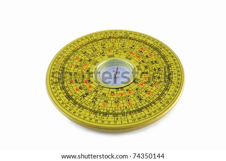 Isolated Chinese compass closeup with chinese character - stock photo