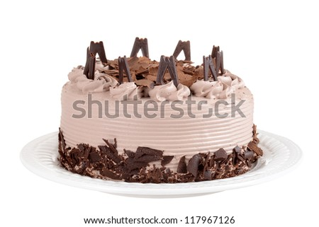 Isolated chocolate cake with flakes - stock photo