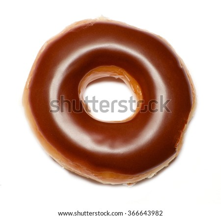 Isolated chocolate glazed ring donut over white - stock photo
