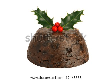 Isolated Christmas pudding with holly & berries - stock photo