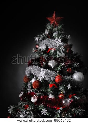 Christmas tree studio shot silver red stock photo 88075774 shutterstock - Red silver and white christmas decorations ...