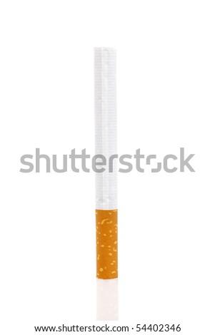 Isolated cigarette on white background - stock photo