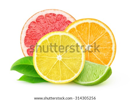 Isolated citrus fruits. Slices of lemon, orange, lime and grapefruit isolated on white background, with clipping path - stock photo