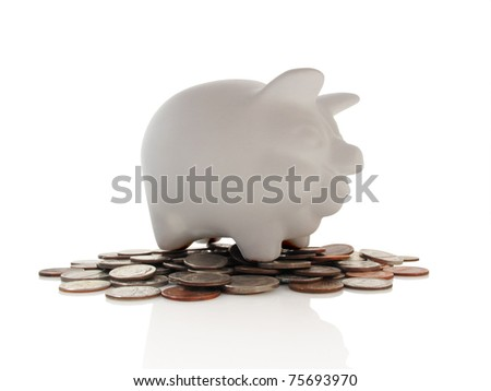 Isolated classic piggy bank on a bed of coins - stock photo