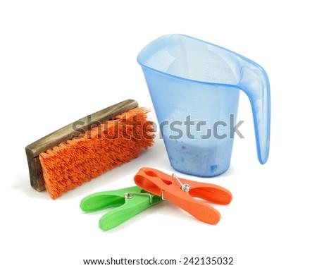 Isolated Cleaning, washing, laundry set - stock photo