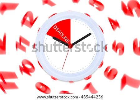 Isolated Clock Black and Red hand with Creative Concept Work Life Success on White Background Copy Space on the Right  / Balance and Integrated for Success People - stock photo