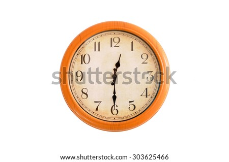 Isolated clock showing 12:30 o'clock - stock photo