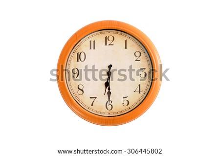 Isolated clock showing 6:30 o'clock - stock photo