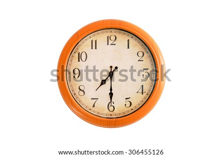 Isolated clock showing 7:30 o'clock - stock photo