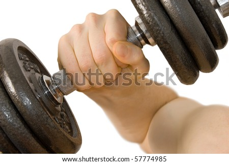 Isolated close-up of male arm lifting a heavy weight - stock photo