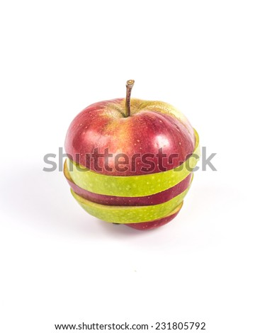 Isolated close-up of two sliced and mixed apples on white background