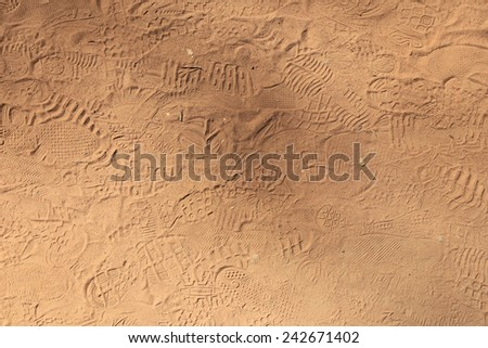 isolated close-up variety of footprints in the sand in sunlight - stock photo