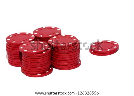 Isolated close up view of red clay gambling chips - stock photo