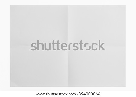 isolated closeup a4 sheet of paper folded in four with white background  - stock photo