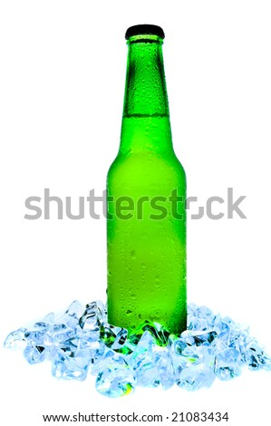 isolated cold beer with ice