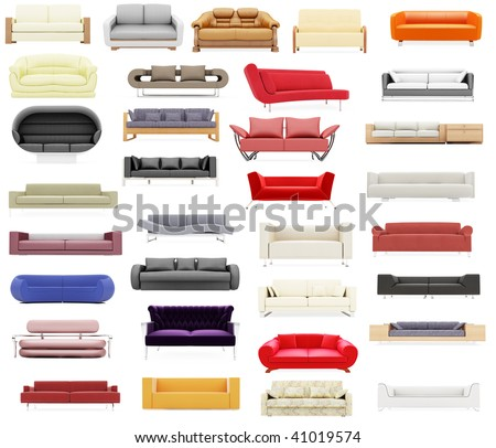 Isolated collage of sofa over white background - stock photo