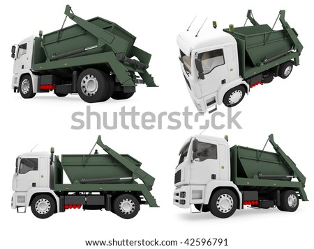 Isolated collection of dump truck