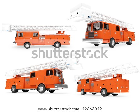 Isolated collection of firetruck - stock photo