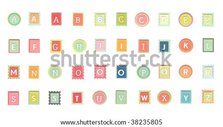 Isolated colorful alphabet letters on white background - stock photo