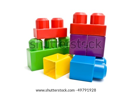 isolated colorful blocks - stock photo